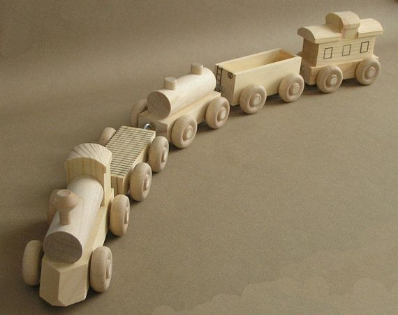 "Wooden Toy Train. The ""No Paint"" Special. Maybe Manny would like to paint it ? $20."