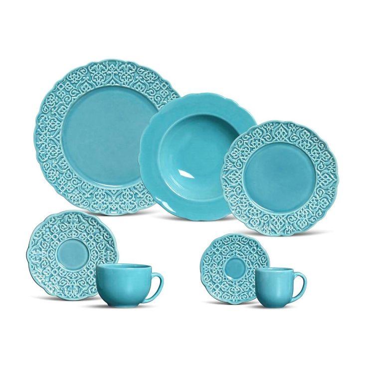 Aparelho de Jantar Marrakech Poppy Porto Brasil Cerâmica Azul 42 Peças -Utilidades domésticas - De 31 a 42 peças - Walmart.com