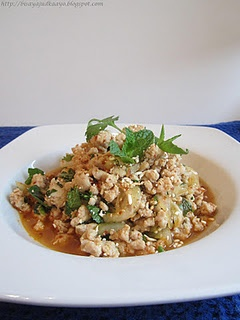 Excellent!!  LARB MOO (SPICY PORK SALAD) (Dry, but excellent!  Used only 1/2 the chili powder) use tofu.