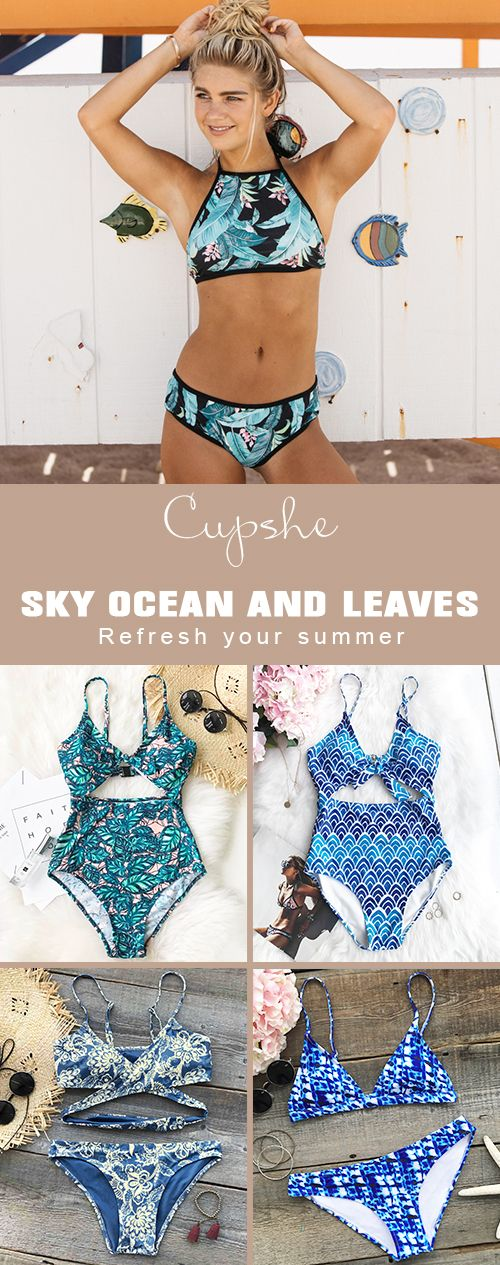 Refresh this summer with the greatest in style swimwears from Cupshe. Blue color helps you close to the sky, ocean and nature. Padded cups, fresh designs and smooth fabric will keep you feeling cool,comfortable and confident all summer long. FREE shipping~ Shop now.