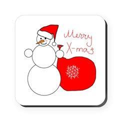 Merry Xmas Snowman Cork Square Coaster