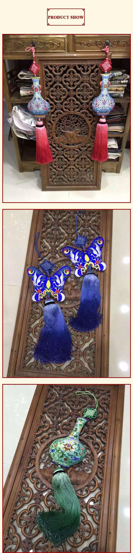 1 шт. вышитые декор подвеска большой висит ремесло двухсторонний Emboridery для украшения дома традиционная китайская ваза форма купить на AliExpress