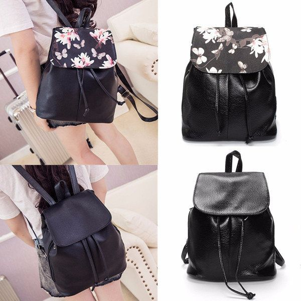 Women Girl PU Travel Floral Travel Backpack Casual School Bags Online - NewChic