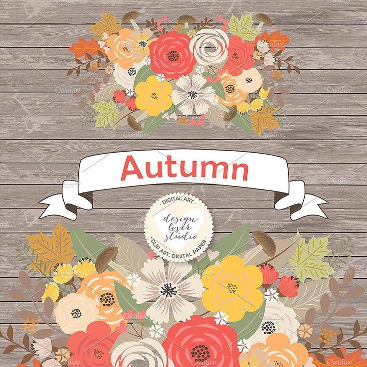 Vector Rustic Autumn cliparts   Leaf clipart, Flower ...