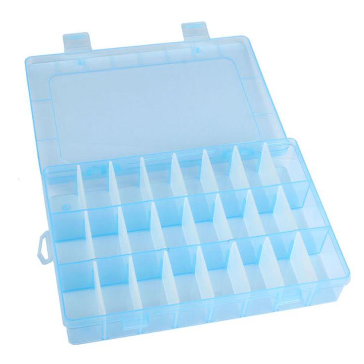 Organizador Nueva Práctica De Plástico Ajustable 24 Compartimiento De Almacenamiento caja de la Caja de Bolas Anillos Exhibición de La Joyería Organizador 25UY