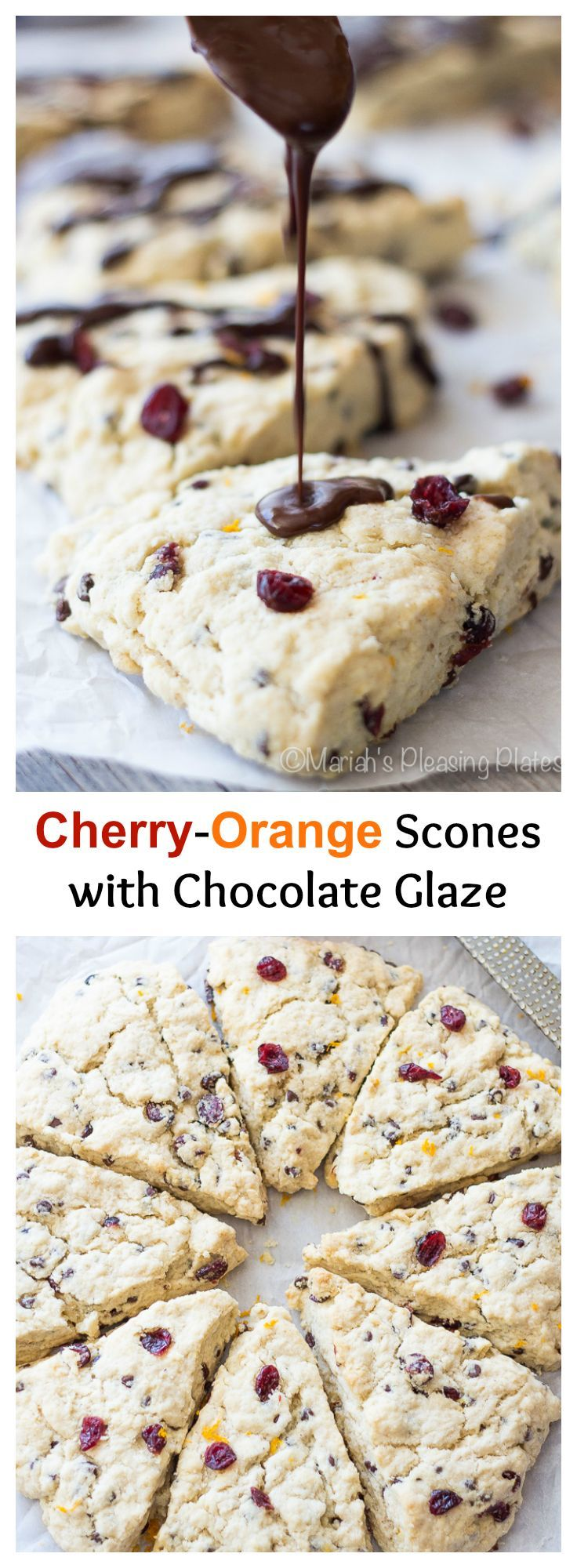 Sour cherry and orange scones with a chocolate ganache glaze. These scones are full of mini chocolate chips, dried sour cherries, and fresh orange juice.