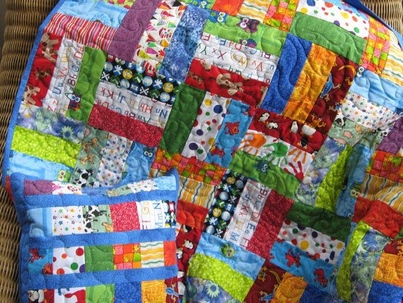 Handmade Baby Quilt And Pillow I Spy Quilt In Primary