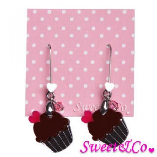 Sweet&Co Mini Silver Chocolate Cupcake Crystal Earrings Silver - One Size