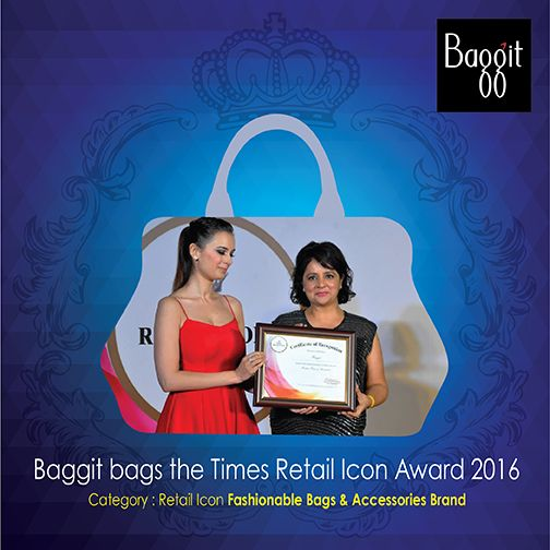 Baggit adds yet another feather to its cap by winning the award for Retail Icon Fashionable Bags & Accessories Brand. The award was handed over to Nina Lekhi, the woman behind the successful brand, by model Evelyn Sharma, at the Times Retail Icon Award, 2016.
