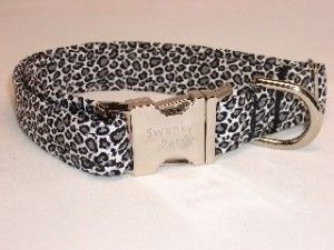 Snow Leopard Animal Print Dog Collar by Swanky Pet Dog Collars.