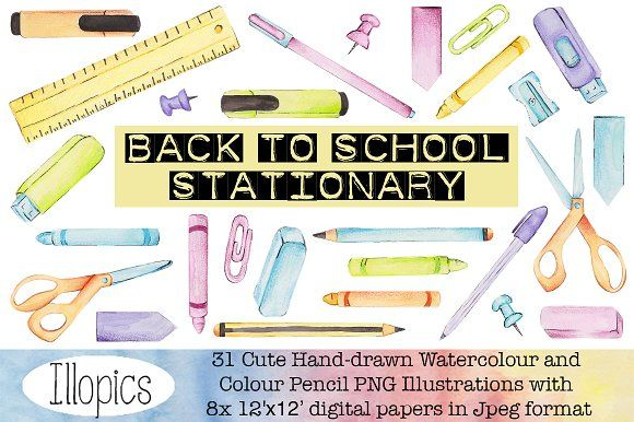 Back to School Stationary Clip Art  by Illopics on @creativemarket