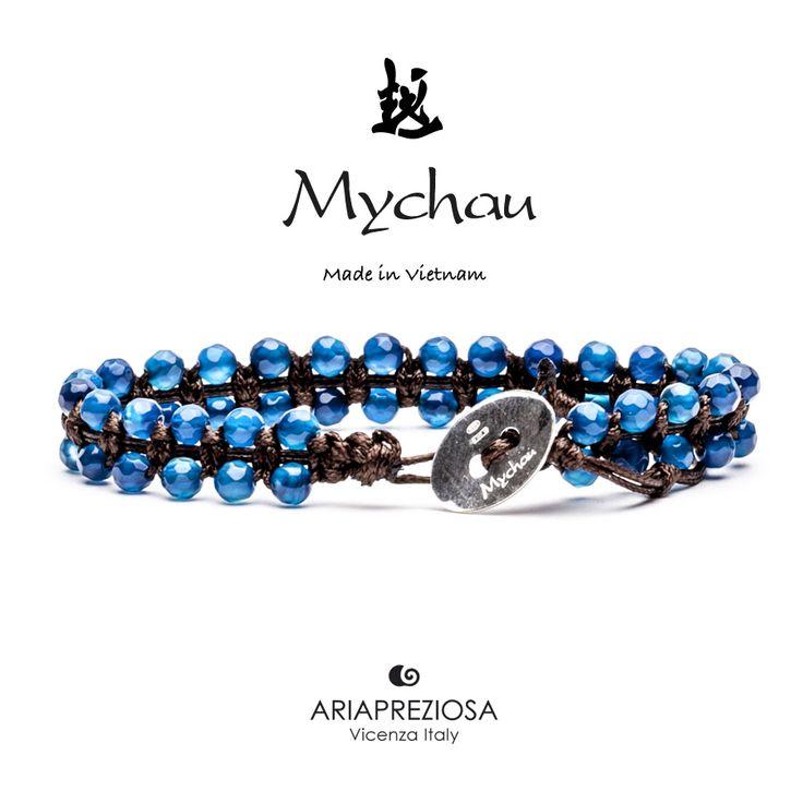 Mychau Double - Bracciale Vietnam originale realizzato con doppia fila di pietre naturali Agata Blu su base col. Nero