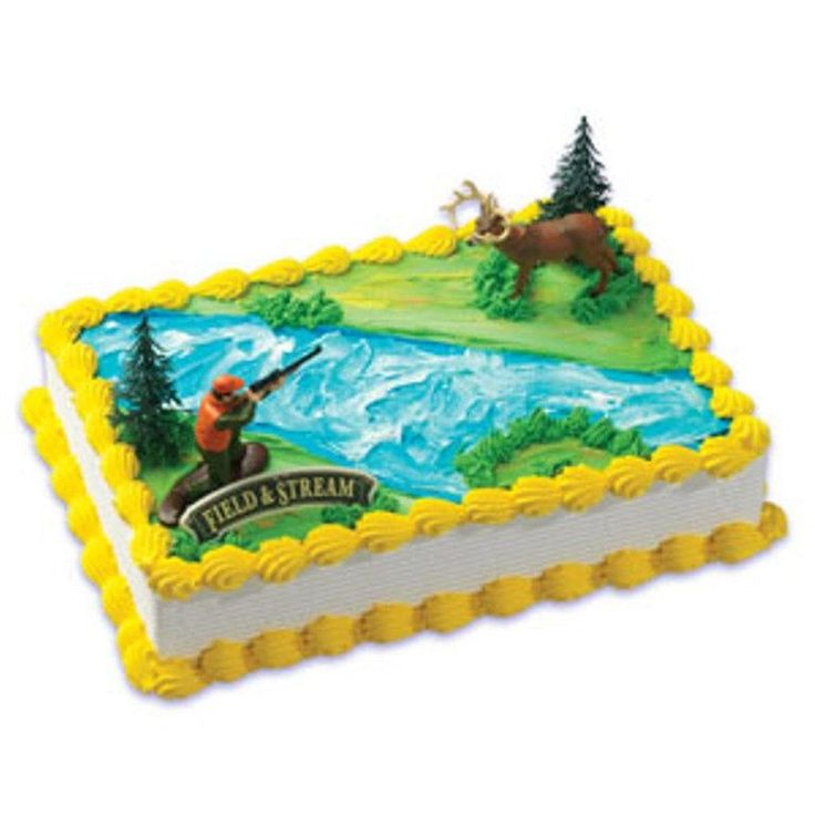 Field and Stream Deer and Hunter Cake Decor Topper