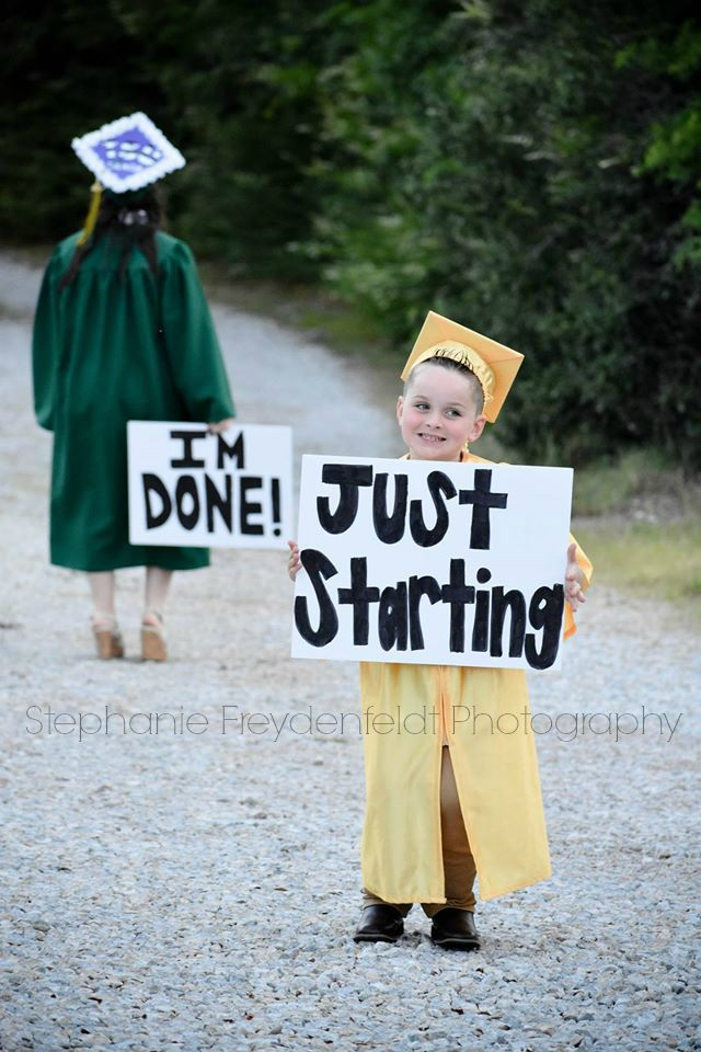 Sweet Pre-K and High School graduation picture!!! #graduationpictures