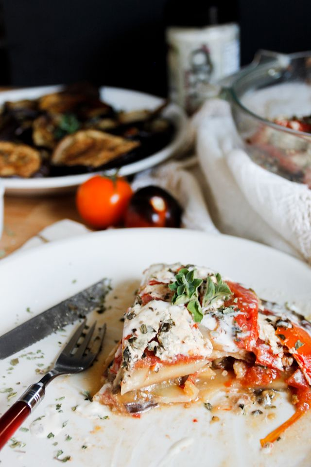 Cold Moussaka with Kalamata-Feta Sauce : immigrantstable
