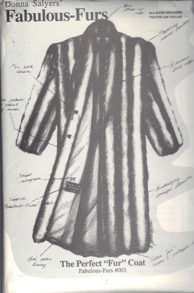 Fur Jacket Coat Sewing Pattern 003 Donna Salyers Sizes 6