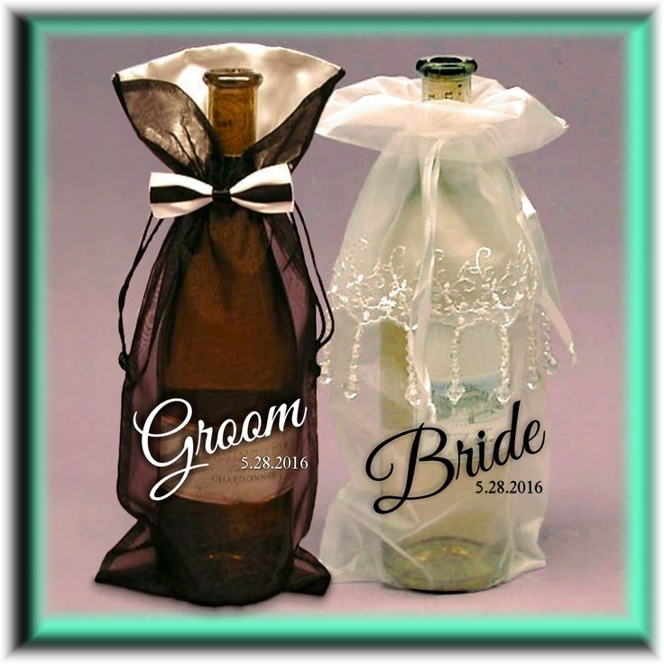 Personalized Wedding Wine And Liquor Bottle Gift Bag, Tuxedo or Beaded Dress for Groom, Best Man Groomsmen, Bride, Maid Of Honor, Bridesmaid. A special occasion gift deserves a special package. Our beautifully formal bow tie or beaded dress wedding wine and liquor bottle bags are great for Bride and Groom gifts, wedding party gifts as well as unique wedding table markers.