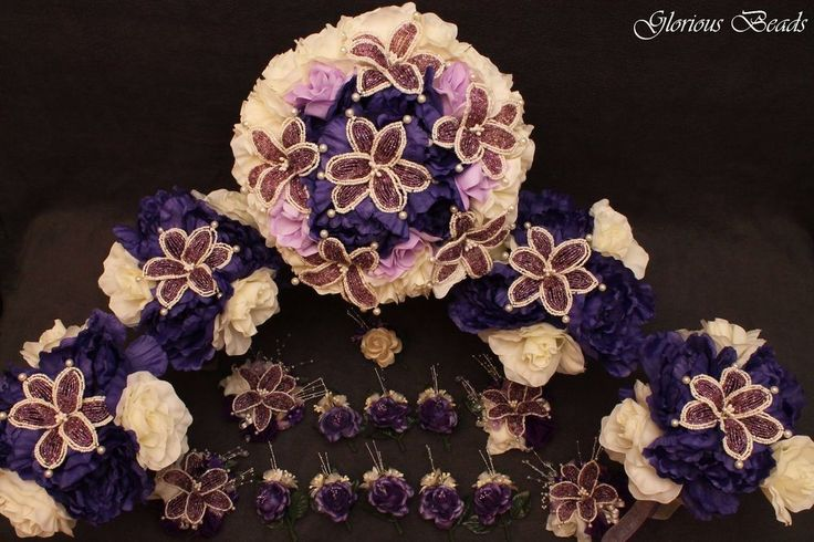 Bridal Bouquet Wedding Flower PURPLE IVORY 17 Piece Package Peony BEADED LILY #GloriousBeadsBeadedBridalandWeddingFlowers #WeddingAnniversary