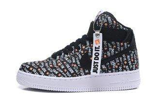 sports shoes f7982 c4ef0 Nike Air Force 1 High LX JUST DO IT Black White Total Orange AO5138 001 Mens  Womens Running Shoes