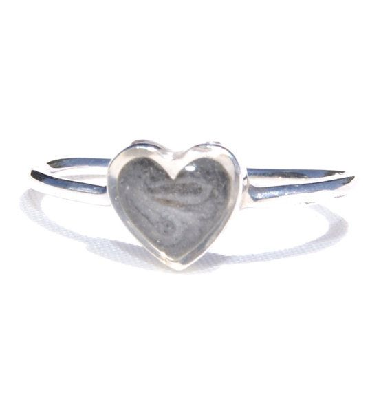 Sterling Silver Simple Band with Small Heart Setting Ring Encompassing Solidified Cremation Ashes - Pet Cremation Jewelry