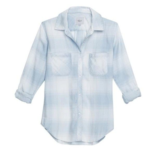 Blue Laguna Plaid Carter Shirt (650 ILS) ❤ liked on Polyvore featuring tops, plaid button-down shirts, long sleeve checkered shirt, blue long sleeve top, button shirt and long sleeve tops