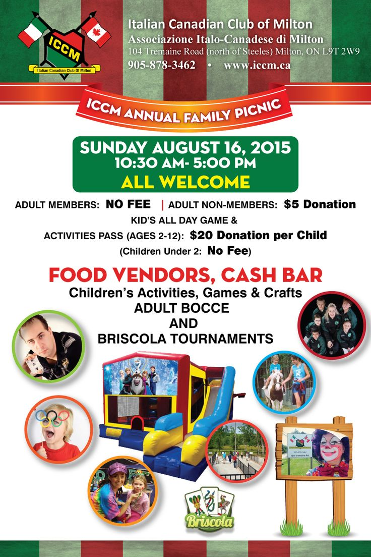 Here is another great event hosted by the ICCM, Family Picnic on August 16th. Lots to do for the kids! We had over 300 people last year. See you there!   Visit www.iccm.ca