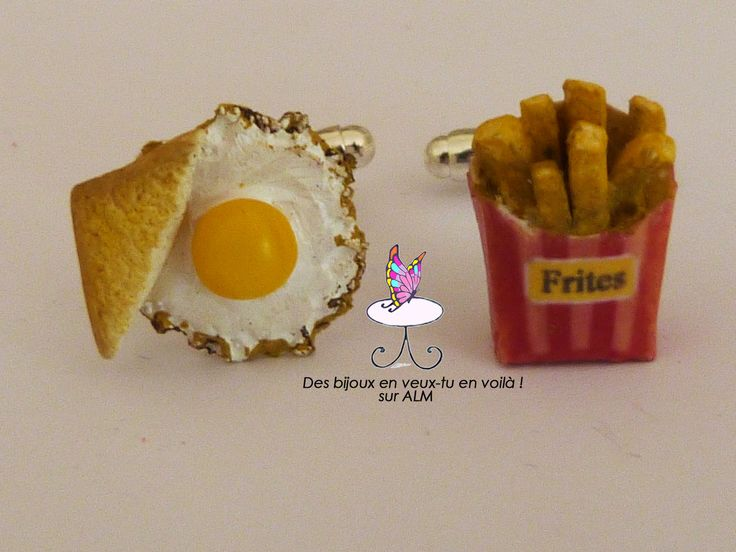 Boutons de manchette faits main. Oeuf, toast, frites.  Accessoires hommes. Cufflinks. French fries, egg, toast. Miniature food. Inspiration polymer clay. http://des-bijoux-en-veux-tu.alittlemarket.com