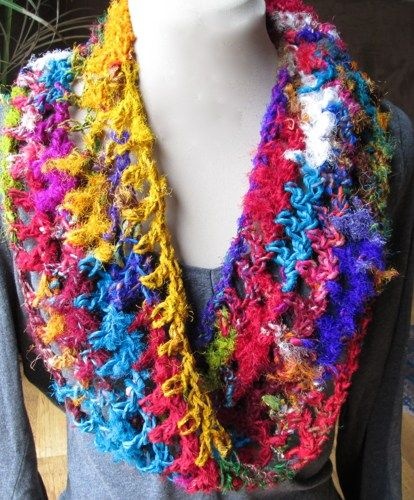 Bright multicolor recycled sari silk/rayon crocheted infinity scarf
