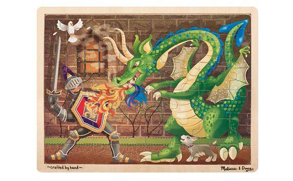 Puzzle en bois dans un plateau - Chevalier et dragon