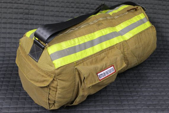 duffle bag made from firemans turnouts $100 etsy
