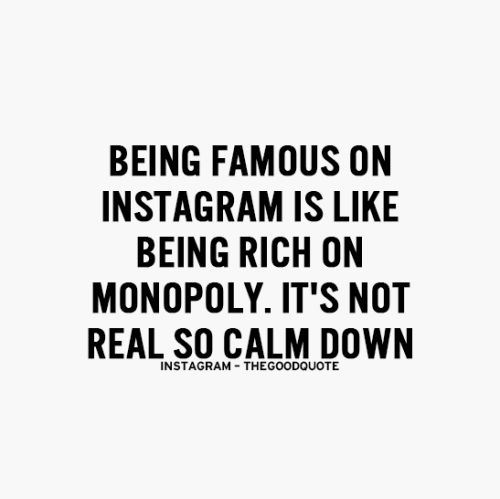 Being famous on instagram is like being rich in monopoly, It's not real so calm down.