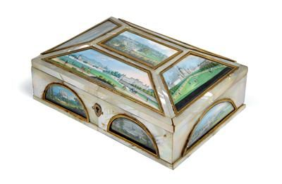 Viennese Biedermeier box, mother of pearl, several glazed gouaches, oblong, altogether 11 different views of Vienna, Tivoli, Weilburg bei Baden, hinged lid, lock, 21,5 x 15,5 x 8,5 cm, small parts missing or restored, Vienna, ca. 1830. Wien, Dorotheum, 22.04.15, no. 713.