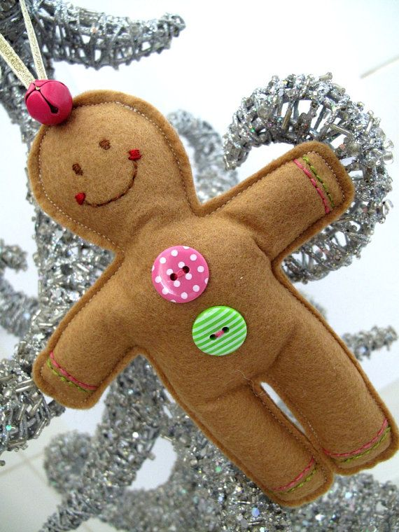 Gingerbread Boy Christmas Hanging Decoration Pink & Green