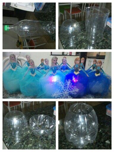 Frozen centro de mesa  Feito com garrafas  pet de 2 litro Feito por Jhoyce Cris.. (eu)kkk