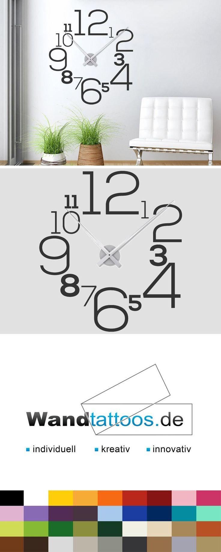 Wandtattoo Uhr mit Zahlen als Idee zur individuellen Wandgestaltung. Einfach Lieblingsfarbe und Größe auswählen. Weitere kreative Anregungen von Wandtattoos.de hier entdecken!