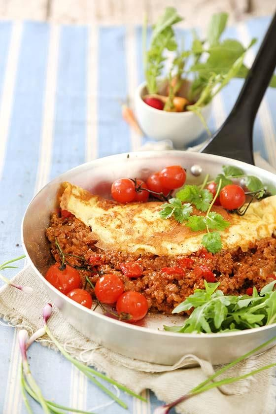 Omelette with mince #recipe | Omelette met maalvleis