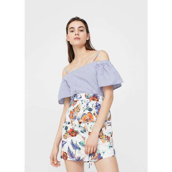 MANGO Printed ruffle skirt ($46) ❤ liked on Polyvore featuring skirts, off white, flounce skirt, mango skirts, ruffled skirts, gathered skirt and frilly skirt
