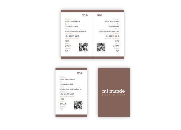 Tarjetas de visita billetes de avión para la agencia de viajes de Mi Mundo Travel Planner.