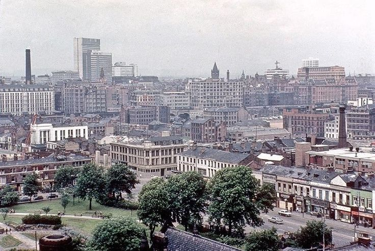 View towards Manchester city centre with Grosvenor Square and Oxford Road in the foreground, September 1965. Taken from the roof of the newly-built extension to the Manchester College of Art and Design (Chatham Building).