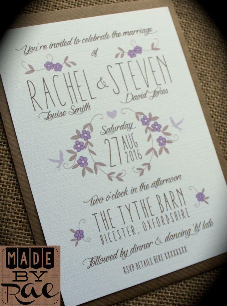 Personalised wedding invites rustic lilac purple brown floral kraft white SAMPLE