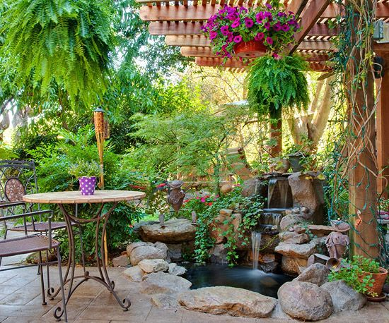Best 25 patio pond ideas on pinterest backyard patio designs garden patio designs and water - Corner pond ideas ...