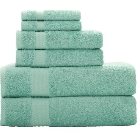 Mainstays Quick Drying 6-Piece Bath Towel Set - Green Menthol