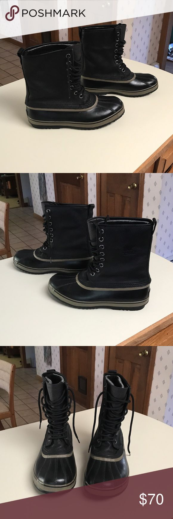 Men's Sorel boots Men's black Sorel premium boots.  Leather upper, removable recycled felt liners, waterproof Sorel Shoes Rain & Snow Boots