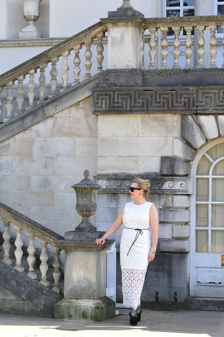 M&S white lace dress
