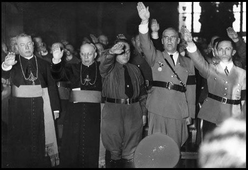 Catholic Priests and Nazis salute Hitler.