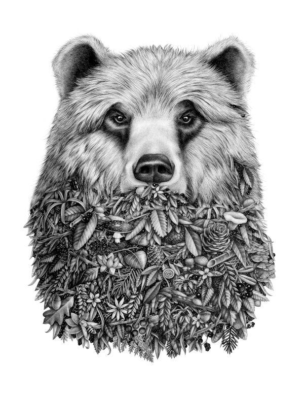 oso en flor