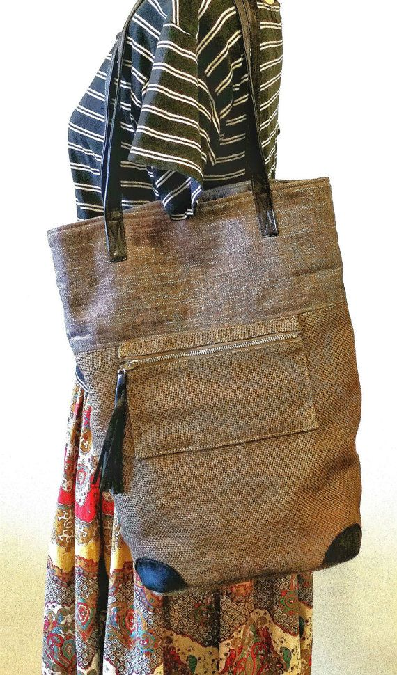 Burlap Handbag in Brown & Grey Vegan Tote Bag Burlap Tote