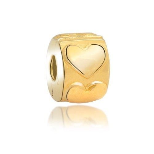 Bling Jewelry 925 Sterling Gold Vermeil Heart Clasp Stopper BeadFits Pandora