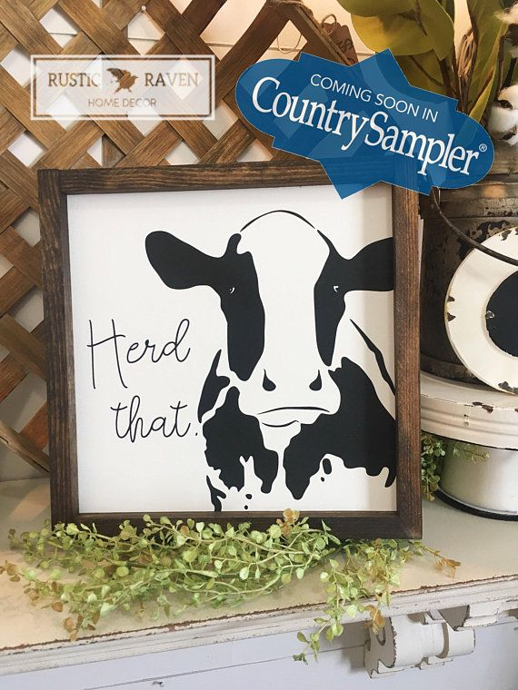 12x12 Cow Herd That Framed Wooden Sign Decorating Ideas Wooden Signs Farmhouse Kitchen