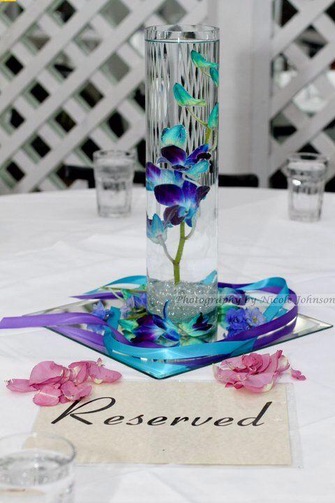 Blue orchid centerpiece wedding ideas pinterest